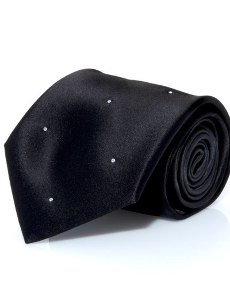 Black Silk Tie with Randomized Clear Swarovski Crystals