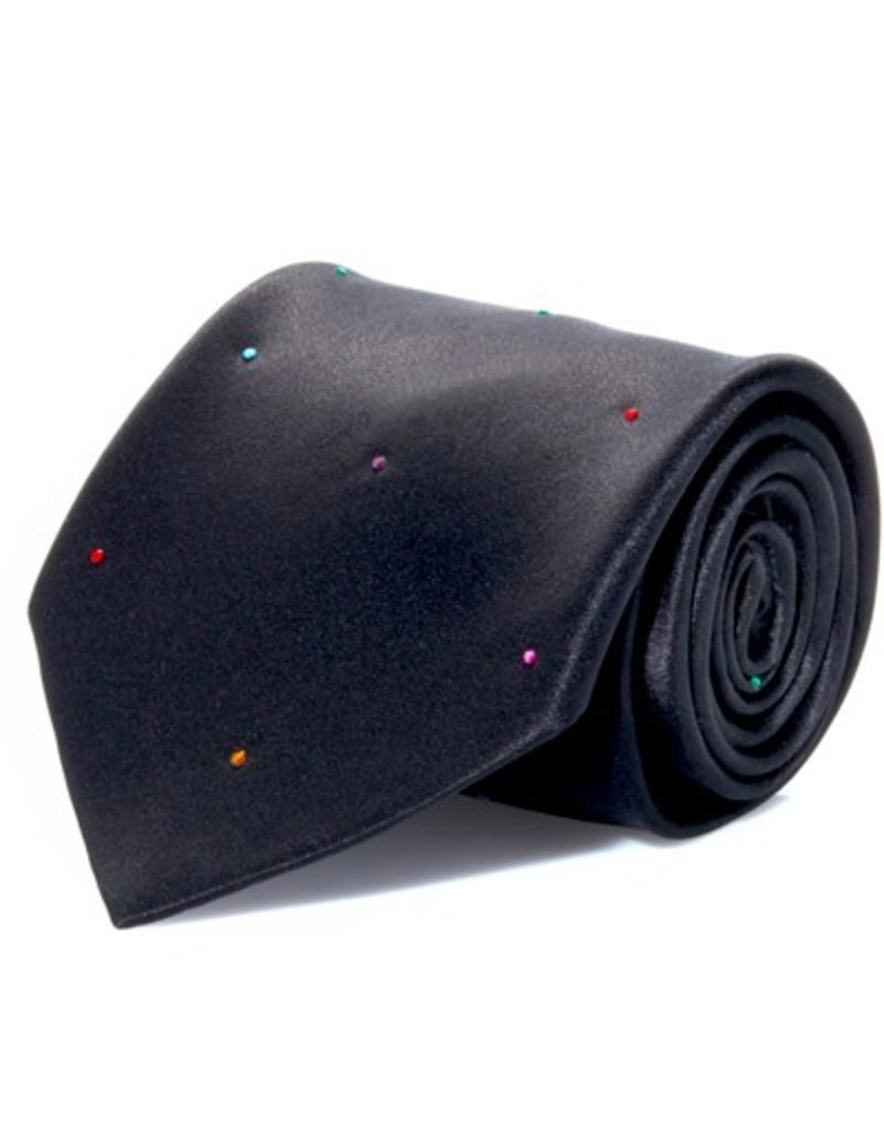 Black Silk Tie with Randomized Multi-color Swarovski