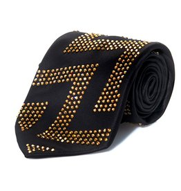 Black Silk Tie with Gold Swarovski Crystals