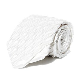 White Pleated Silk Tie
