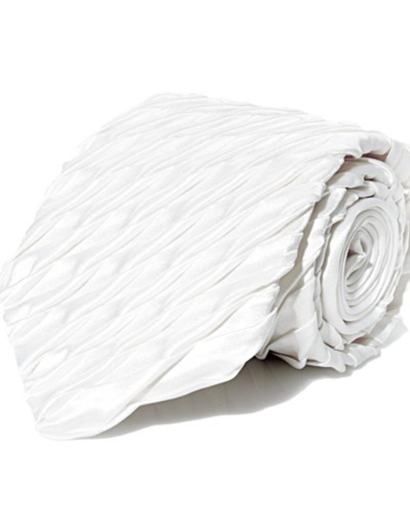 White Pleated Silk Tie