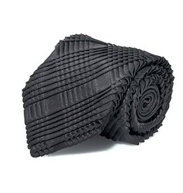 Black Silk Box Pleated Tie