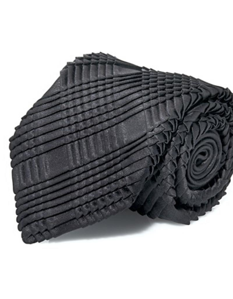 Black Silk Box Pleated Tie