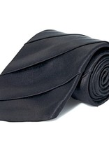 Black Wide Pleated Silk Tie