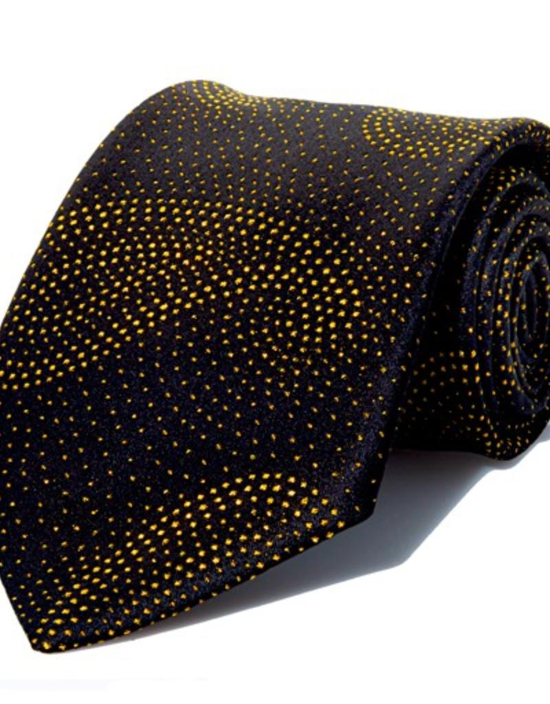 Black Silk Tie with Gold Lamé Paisley