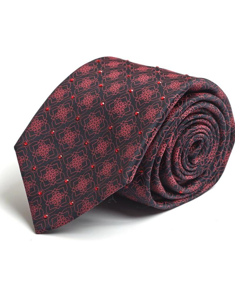 Black and Red snowflake patterned Silk Tie with Hand-set Swarovski Crystals