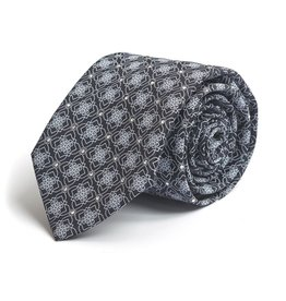 Black and White snowflake patterned Silk Tie with Hand-set Swarovski Crystals