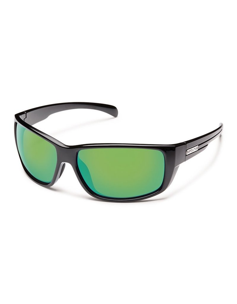 Suncloud Milestone Black Polarized Green Mirror