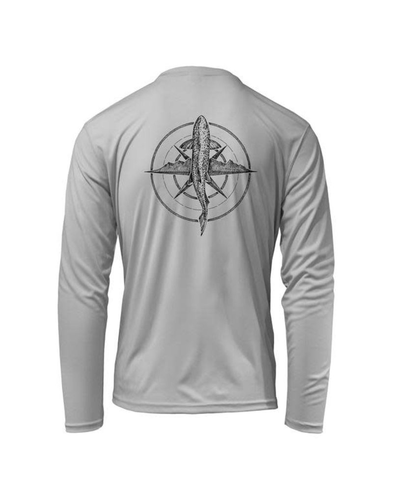 Rep Your Water Brown Trout Compass Sun Shirt, Pearl Gray