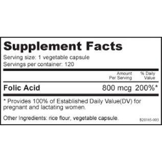 Nutrabio Folic Acid (800 mcg)