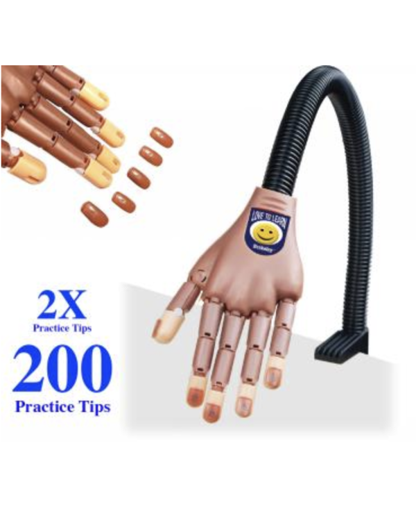 Main de Pratique pour Ongles avec (paquet de 200 Ongles)