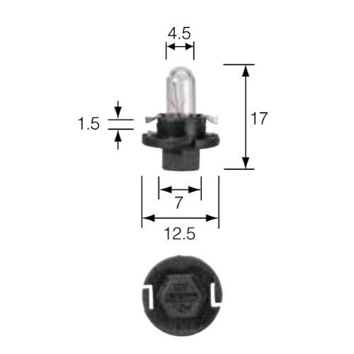 Narva 12V 1.2W BX8.4D BLACK BASE Dash Panel Globe