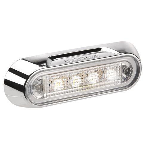 Narva 10-30V - Model 8 L.E.D Courtesy & Front End Outline Marker Lamp (White) w/ Chrome Deflector Base (Blister Pack)