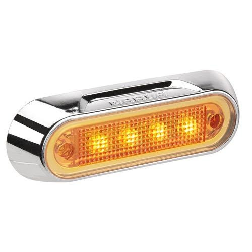Narva 10-30V - Model 8 L.E.D Front End Outline Marker Lamp (Amber) w/ Chrome Deflector Base (Blister Pack)