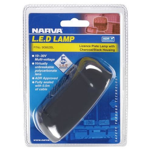 Narva 10-30V - Model 8 L.E.D Licence Plate Lamp in Charcoal/Black Housing & 0.5m Cable (Blister Pack)