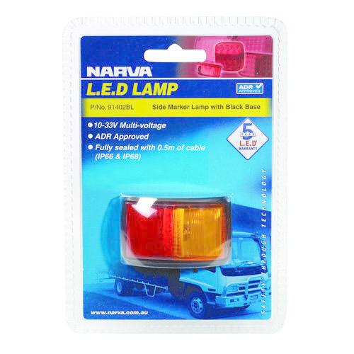 Narva 10-33V - Model 14 L.E.D Side Marker Lamp (Red/Amber) w/ Black Deflector Base & 0.5m Cable (Blister Pack)
