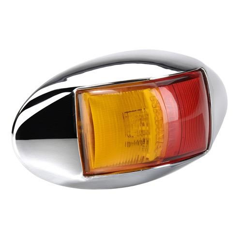 Narva 10-33V - Model 14 L.E.D Side Marker Lamp (Red/Amber) w/ Oval Chrome Deflector Base & 0.5m Cable (Blister Pack)