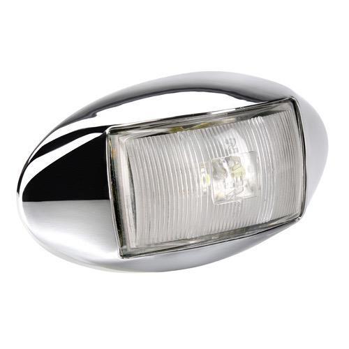 Narva 10-33V - Model 14 L.E.D Front End Outline Marker Lamp (White) w/ Oval Chrome Deflector Base & 0.5m Cable