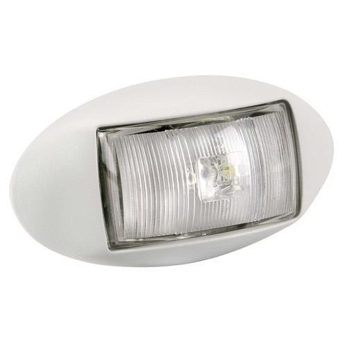 Narva 10-33V - Model 14 L.E.D Front End Outline Marker Lamp (White) w/ Oval White Deflector Base (Blister Pack)