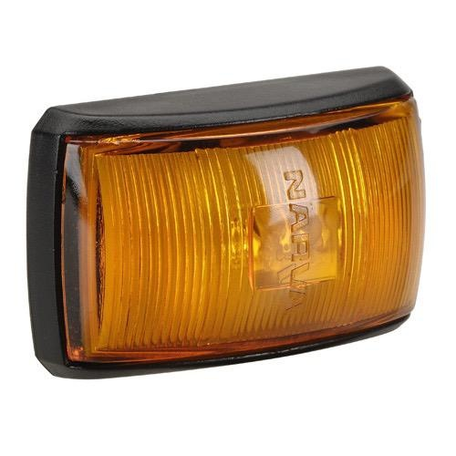 Narva 10-33V - Model 14 L.E.D Side Marker, External Cabin or Front End Outline Marker Lamp (Amber) w/ Black Deflector Base & 0.5m Cable