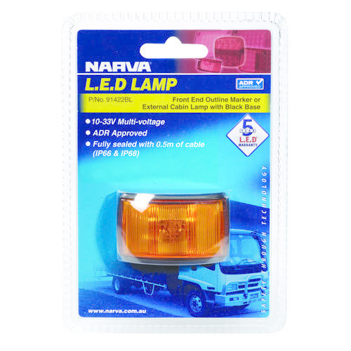 Narva 10-33V - Model 14 L.E.D Side Marker, External Cabin or Front End Outline Marker Lamp (Amber) w/ Black Deflector Base & 0.5m Cable (Blister Pack)