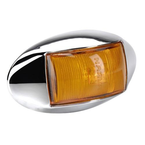 Narva 10-33V - Model 14 L.E.D Side Marker, External Cabin or Front End Outline Marker Lamp (Amber) w/ Oval Chrome Deflector Base & 0.5m Cable