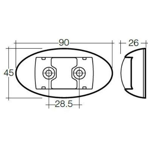 Narva 10-33V - Model 14 L.E.D Side Marker, External Cabin or Front End Outline Marker Lamp (Amber) w/ Oval Chrome Deflector Base & 0.5m Cable (Blister Pack)