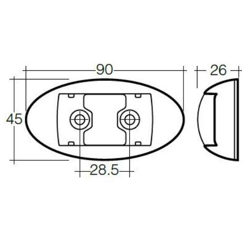 Narva 10-33V - Model 14 L.E.D Side Marker, External Cabin or Front End Outline Marker Lamp (Amber) w/ Oval White Deflector Base & 0.5m Cable