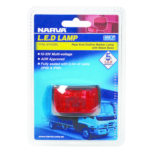 Narva 10-33V - Model 14 L.E.D Rear End Outline Marker Lamp (Red) w/ Black Deflector Base & 0.5m Cable (Blister Pack)
