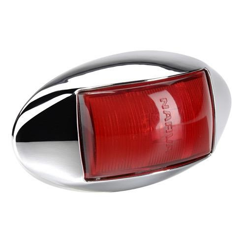Narva 10-33V - Model 14 L.E.D Rear End Outline Marker Lamp (Red) w/ Oval Chrome Deflector Base & 0.5m Cable (Blister Pack)