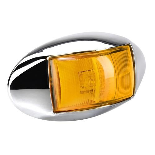 Narva 10-33V - Model 14 L.E.D Side Direction Indicator Lamp (Amber) w/ Oval Chrome Deflector Base & 0.5m Cable (Blister Pack)