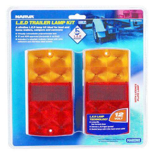 Narva 12V - Model 36 L.E.D Slimline Trailer Lamp Pack w/ Licence Plate Lamp - Blister Pack
