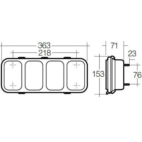 Narva 10-30V - Model 46 L.E.D Module w/ Twin Rear Direction Indicator & Twin Stop/Tail Lamps (RH)