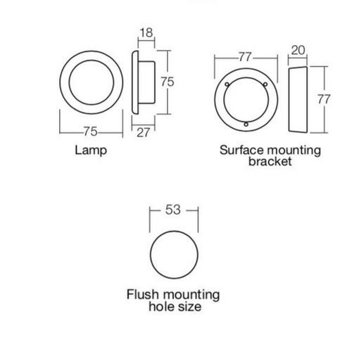 Narva 10-30 Volt 1W LED Courtesy Lamp with Off/On Switch, White Face Plate & Mounting Spacer