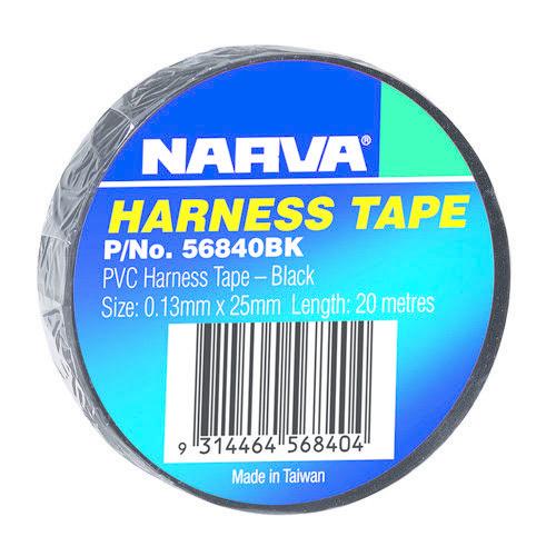 Narva PVC Harness Tape (20m Length per Roll) - Thickness: 0.13mm - Width: 25mm - Black