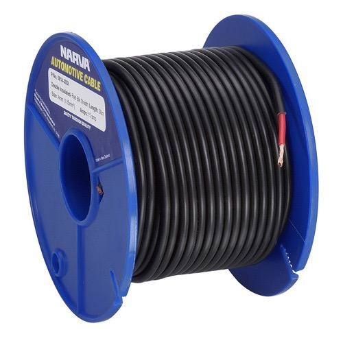Narva 10A Single Core Double Insulated Cable - Dia: 3mm (Red w/ Black Sheath)