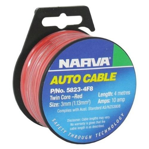 Narva 10A Twin Core Figure 8 Cable - Dia: 3mm (Red w/ Black Tracer)