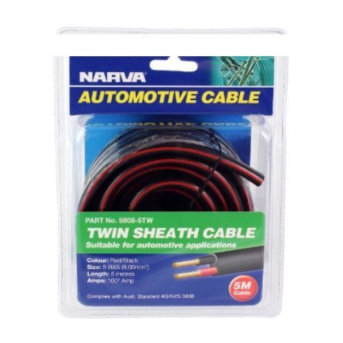 Narva 100A Twin Core Sheathed Cable - Dia: 8 B&S (Red/Black w/ Black Sheath) - Length: 5m