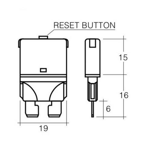 Narva 10 Amp Red Manual Resetting Circuit Breaker - Pack of 5