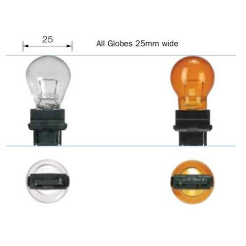 Narva 12V 27/7W W2.5 X 16Q PY27/7W AMBER Wedge Globe (Blister pack of 2)