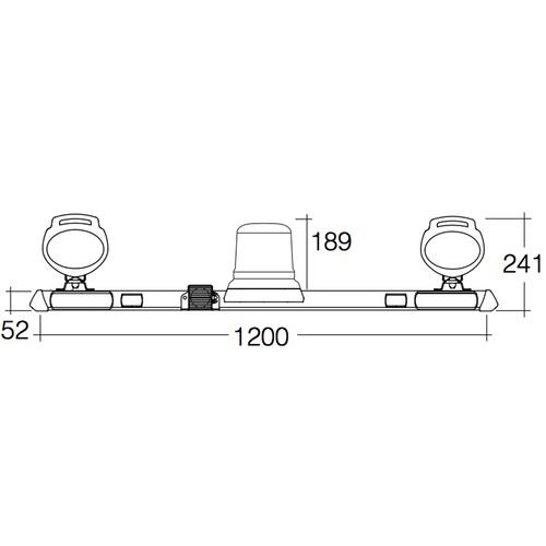 "Narva 12/24 Volt L.E.D Strobe Mine Bar - 1.2m with ""Mini Senator"" L.E.D Work Lamps including in-built handle and switch (Hybrid Lens - 2000Lumen) with Broadband Reversing Alarm"