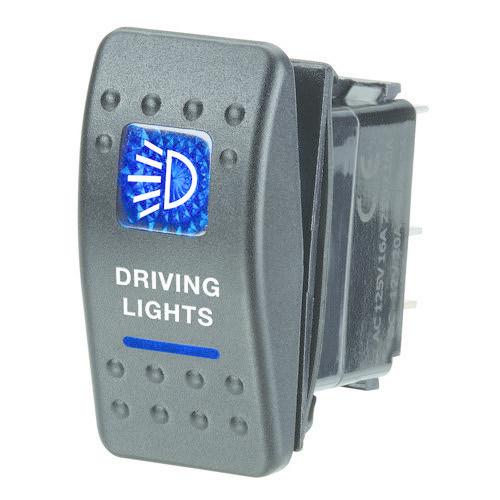 "Narva 12V Illuminated Off/On Sealed Rocker Switch - Blue - w/ ""Driving Lights"" Symbol"