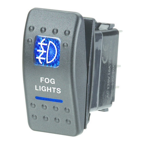 "Narva 12V Illuminated Off/On Sealed Rocker Switch - Blue - w/ ""Fog Lights"" Symbol"