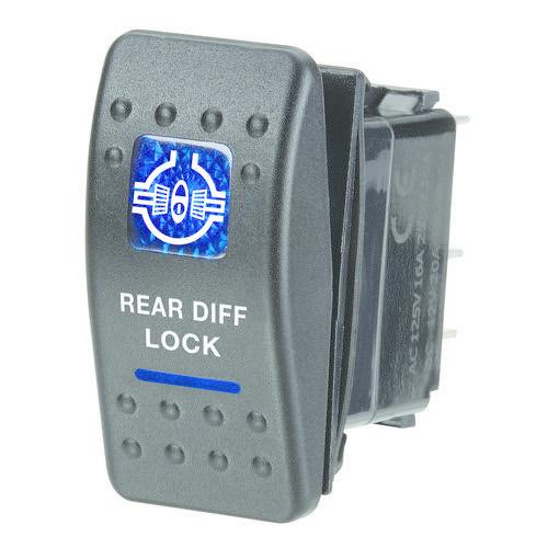 "Narva 12V Illuminated Off/On Sealed Rocker Switch - Blue - w/ ""Rear Diff Lock"" Symbol"