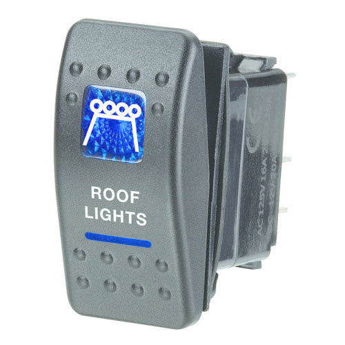 "Narva 12V Illuminated Off/On Sealed Rocker Switch - Blue - w/ ""Roof Lights"" Symbol"