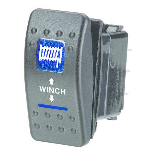"Narva 12V Illuminated Momentary (On)/Off/Momentary (On) Sealed Rocker Switch - Blue - w/ ""Winch"" Symbol"
