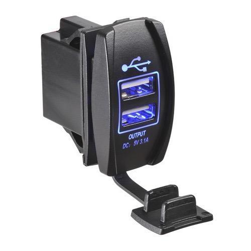 Narva 12/24V Dual USB L.E.D Illuminated Socket (Blue)