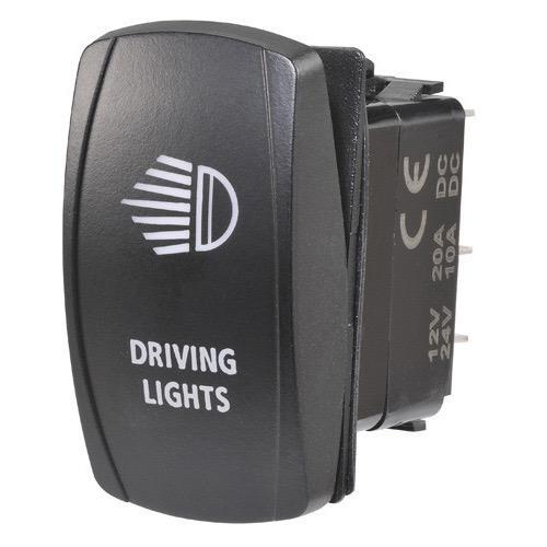 "Narva 12/24V Off/On L.E.D Illuminated Sealed Rocker Switch - Blue - w/ ""Driving Lights"" Symbol"