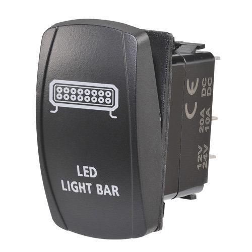 """Narva 12/24V Off/On L.E.D Illuminated Sealed Rocker Switch - Blue - w/ """"L.E.D Light Bar"""" Symbol"""