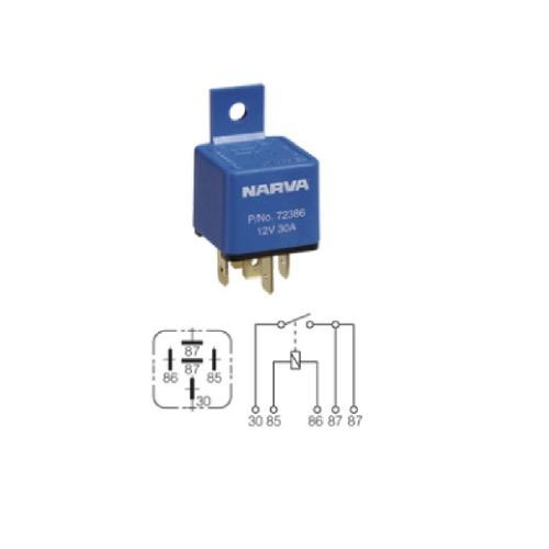 Narva 12V - 30A 5 Pin Mini Relay w/ Resistor - Blister Pack